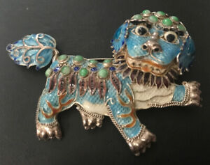 Vintage Chinese Enamel Filigree Sterling Silver Jade Foo Fu Dog Brooch Pin