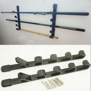 details about fishing rod rack pole pool holder 5 item fish wall mount stand storage organiser