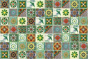 details about green designs mexican tile handmade talavera backsplash handpainted mosaic