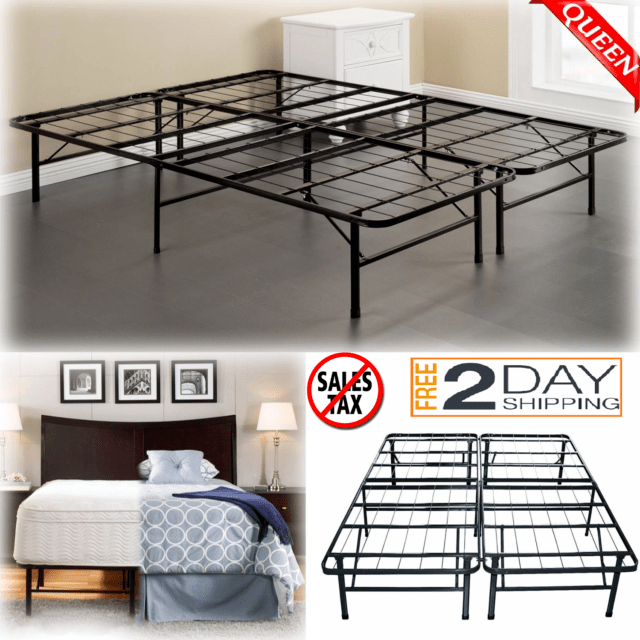 Queen Size Bed Frame Heavy Duty Mattress Platform Folding Foundation Steel Base For Sale Online Ebay