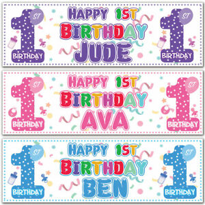 2 Personalised 1st Birthday Banner Baby Christening Baptism Party Poster Decor Ebay
