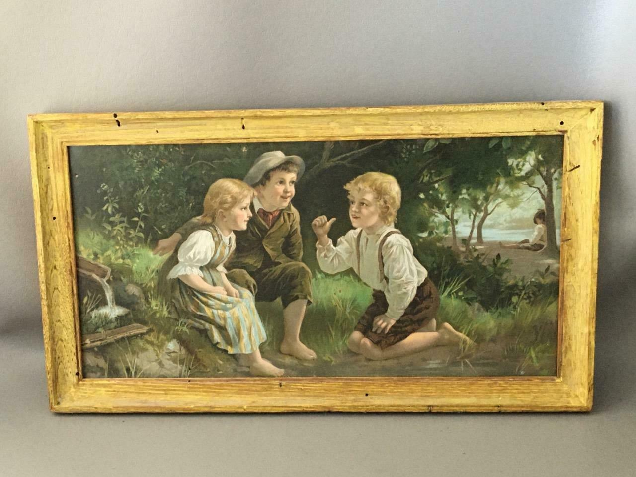 "ANTIQUE 1800's ""THE CONSPIRACY"" CHILDREN PLAYING CHROMOLITHOGRAPH PRINT FRAMED"