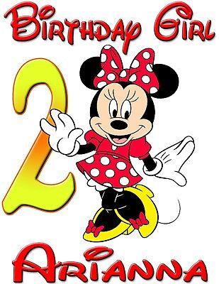 Personalisierte Kundenspezifische Minnie Mickey Maus Geburtstag Shirt Fur Family Party Rot Min Ebay