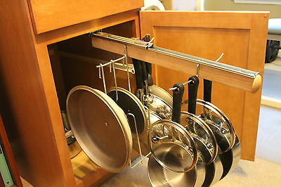pull out under cabinet hanging pot and pan lid rack cookware organizer ebay