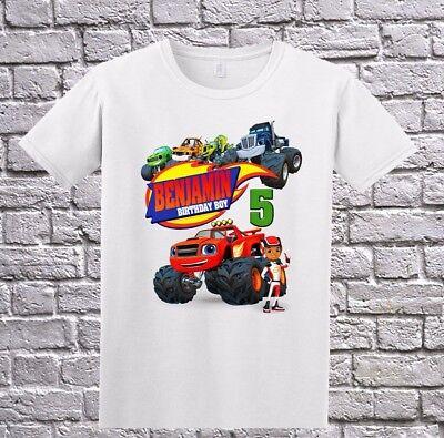 Blaze And The Monster Machines Boy Birthday Shirt Personalized Tshirt White Ebay