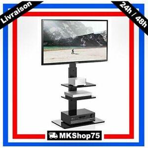 details sur meuble tv pied avec support pivotant pour televiseur de 32 a 65 pouces