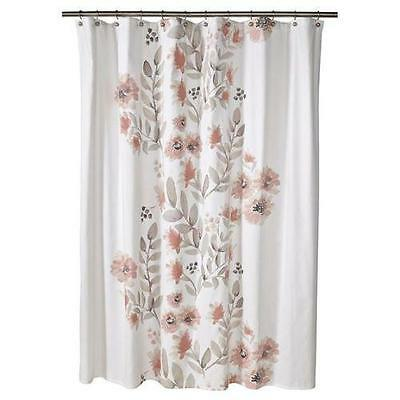 threshold coral watercolor fabric shower curtain floral new 72 x 72 target ebay