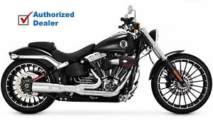 details about vance hines chrome hi output 2 into 1 short exhaust pipes harley breakout new