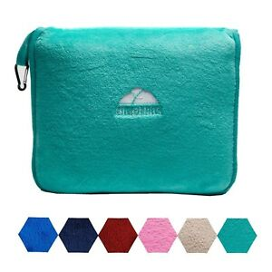 details about bluehills premium soft teal green travel blanket pillow airplane blanket in case