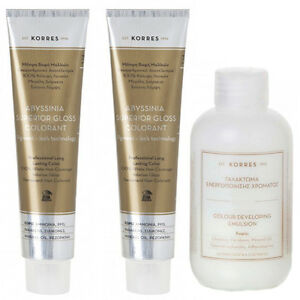 2x korres abyssinia superior gloss hair color plus free developer choose shade ebay
