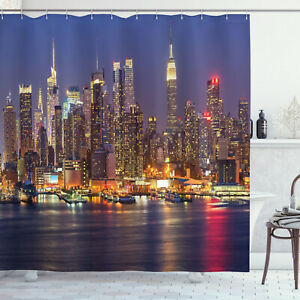 details about nyc new york city night skyline cityscape shower curtain extra long 84 inch