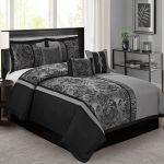 7 Piece Grey Black Peony Printed Flower Design Comforter Sets Queen King Calking Ebay