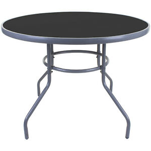 details about 100cm round glass table grey metal frame outdoor garden patio furniture large