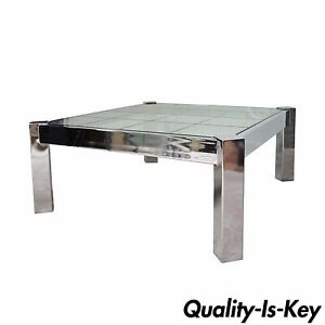details about vintage mid century modern chrome etched glass square coffee table pace baughman
