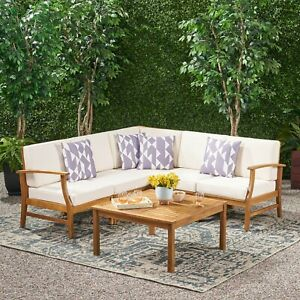 details about capri modern outdoor teak acacia wood sectional sofa set with cushions