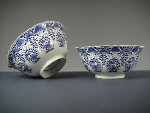 Very Fine Two Chinese Porcelain B/W Bowls With Flowers-19th C.Kangxi Mark!