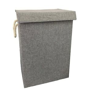 Grey Fabric Laundry Basket Hamper Lid Handle Ideal For Clothes Storage Uk Ebay