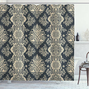 details about damask shower curtain victorian baroque style print for bathroom