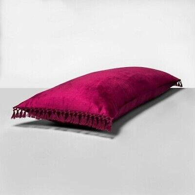 opalhouse crochet trimmed velvet body pillow 49 magenta x large throw bed nwt ebay