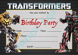 details about 18 transformers pack of 10 megatron kids children birthday party invitations