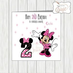 Personalised Minnie Mouse Birthday Card Daughter Granddaughter Any Age 1st 2nd 3 Ebay