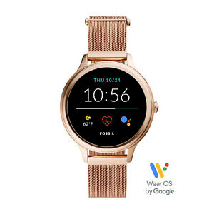 New Fossil Gen 5E 42mm Milanese Mesh Band Smartwatch Women Rose Gold FTW6068