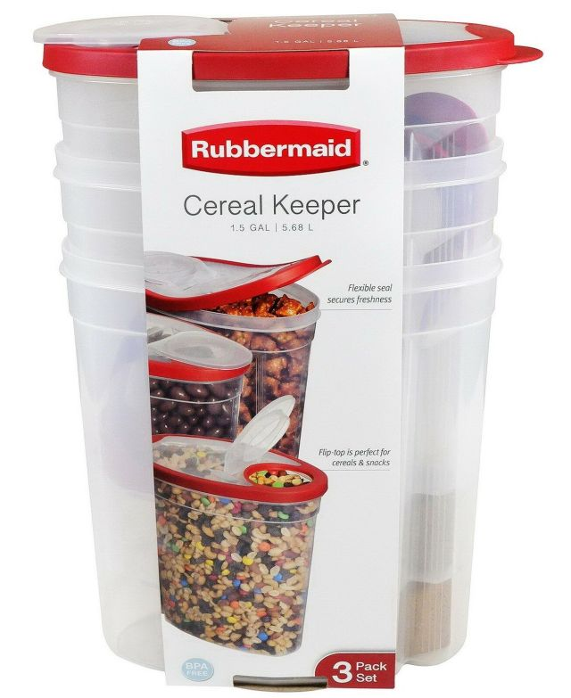 3 Pack 1.5 Gallon Rubbermaid Cereal Keeper Food Storage Plastic Containers Red 2