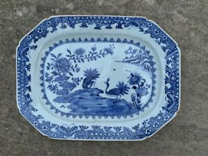 Antique Chinese C18th Octagonal Export Dish - Bird And Flower Scene Decoration