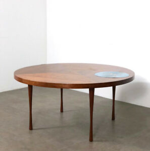 details about vintage walnut enamel inlaid round coffee table rare mid century danish modern