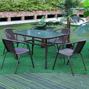details about garden patio table chair set outdoor large glass table 4 6 seater parasol base