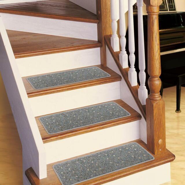 Stair Treads Non Slip Carpet Indoor Set Of 13 Grey Stair Treads   Grey Carpet Treads For Stairs   Bullnose Carpet   Flooring   Magma Grey   Skid Resistant   Carpet Runner