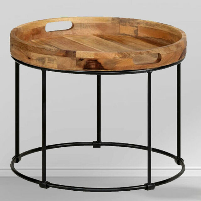 round industrial coffee table rustic vintage retro side end furniture wood metal
