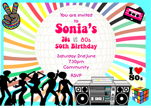 details about 70s and 80s personalised theme party invitations male female