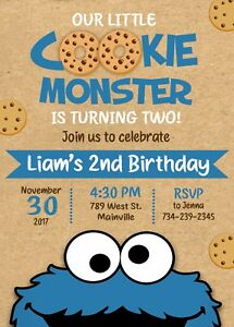 details about cookie monster birthday party invitation cookie monster invitation birthday