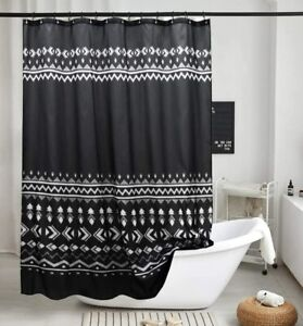 details about uphome boho shower curtain black geometric tribal shower curtain set with hooks