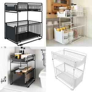 2 tier slide out drawer basket kitchen