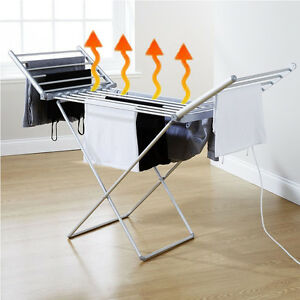 details about electric heated clothes airer dryer imdoor horse rack laundry folding washing
