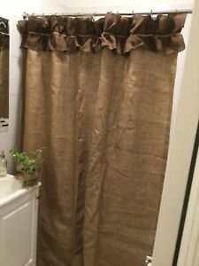 details about natural burlap shower curtain with dark brown ruffle at the top custom made show