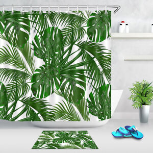 details about green tropical palm leaf shower curtain liner bathroom mat set waterproof fabric