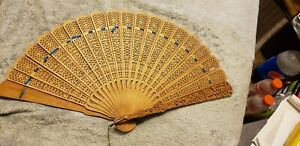 Vintage Chinese Hand Carved Sandal Wood Fan