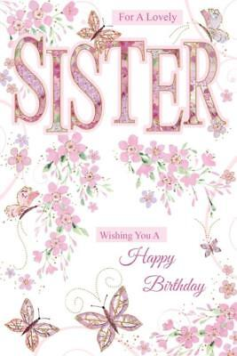 Sister Flowers Butterflies Design Happy Birthday Quality Card Lovely Verse Ebay