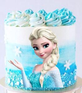 Pre Cut Edible Disney Frozen Elsa Cake Topper Image Icing Birthday Cake Party Ebay