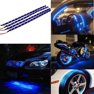 Green 4pcs 30CM//15 LED Car Motors Truck Flexible Strip Light Waterproof 12V S6