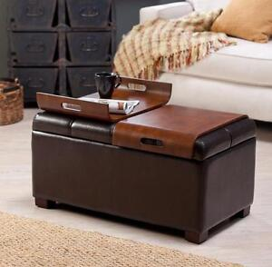 details about ottoman storage faux leather coffee trays convertible bench table tufted brown