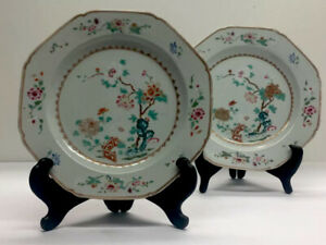 2 Piece Antique Chinese Famille Rose Porcelain Dish Plate Wucai Plate