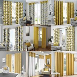 details sur moutarde oeillet de rideau paires jaune ocre anneaux double rideaux prets a l emploi afficher le titre d origine