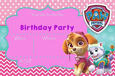 Paw Patrol Skye Everest Pink Girls Birthday Party Invites Pp1 Ebay