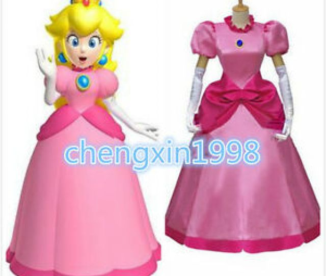 Image Is Loading New Cartoon Super Mario Princess Peach Pink Dress