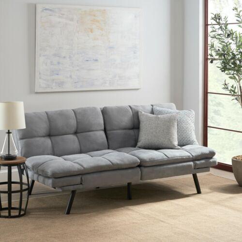 memory foam pillow top sleeper sofa bed convertible couch gray futon loveseat futons frames covers uniforce home garden