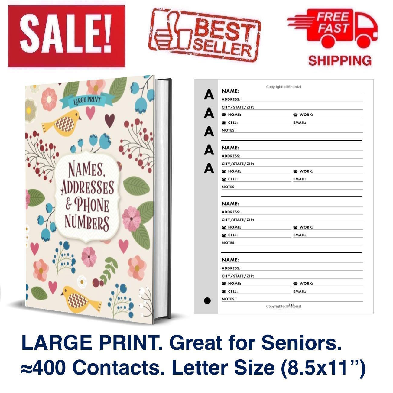 Large Print Big Font Address Book Phone Seniors Contacts